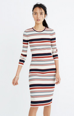 Ribbed Long-Sleeve Midi Dress in Multistripe