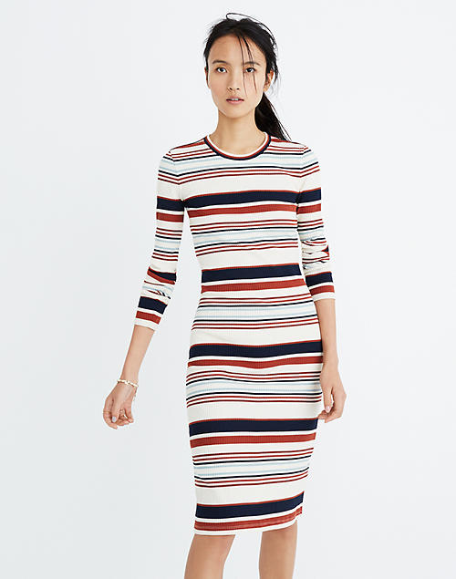 a130f0d6b3b68 Ribbed Long-Sleeve Midi Dress in Multistripe in null image 1