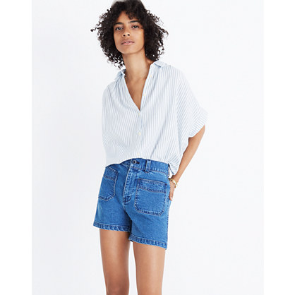 High-Rise Denim Shorts: Patch Pocket Edition