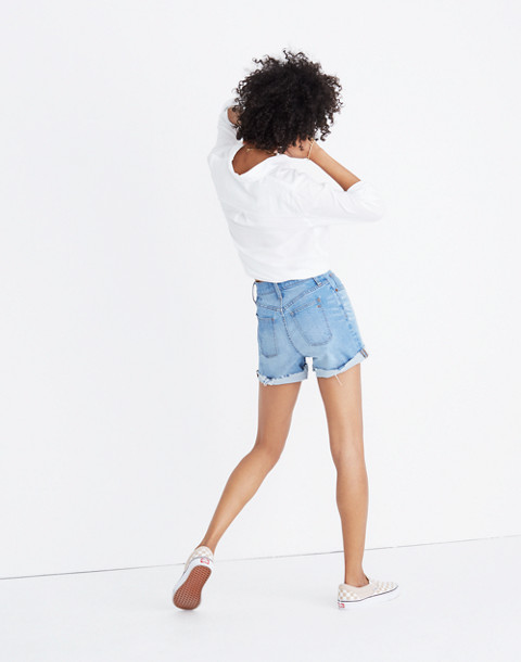 High-Rise Denim Shorts: Button-Front Edition in poppins wash image 2