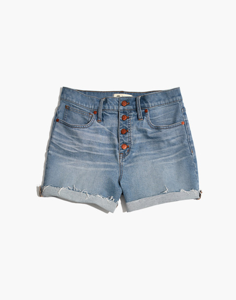 High-Rise Denim Shorts: Button-Front Edition in poppins wash image 4