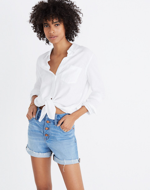 High-Rise Denim Shorts: Button-Front Edition in poppins wash image 1