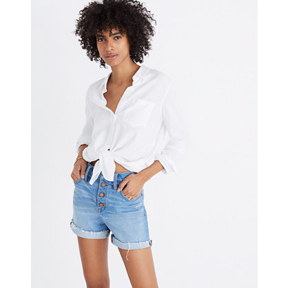 High-Rise Denim Shorts: Button-Front Edition
