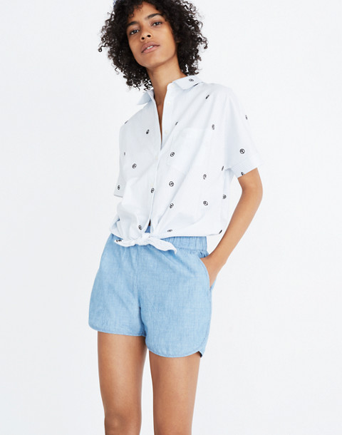 Chambray Pull-On Shorts in aloha wash image 1