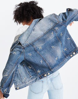 Pre-order The Boxy-Crop Jean Jacket: Daisy Embroidered Edition