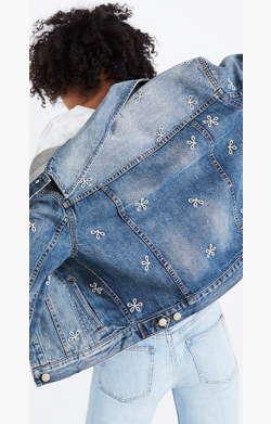 The Boxy-Crop Jean Jacket: Daisy Embroidered Edition