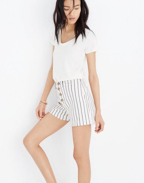 Emmett Button-Front Shorts in Stripe in canvas image 3