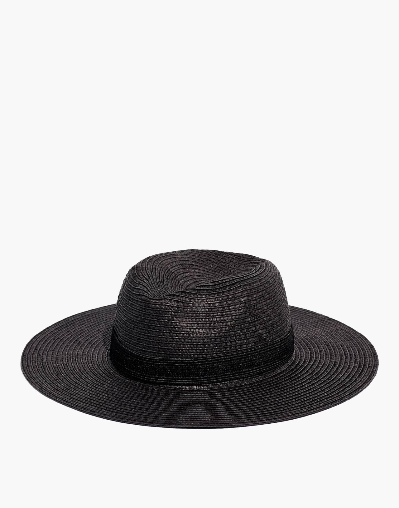 Packable Mesa Straw Hat in true black image 1
