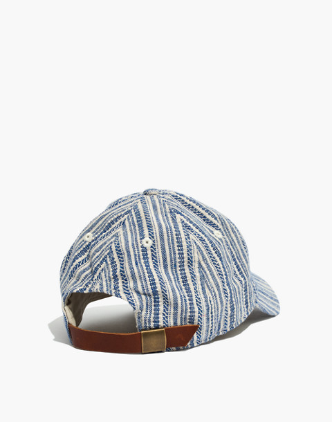 Baseball Cap in Textural Stripe in alpha blue image 2