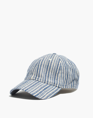 4127a3f1eb8 Baseball Cap in Textural Stripe in alpha blue image 1