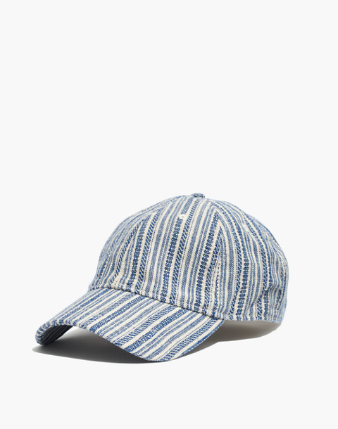 Baseball Cap in Textural Stripe in alpha blue image 1