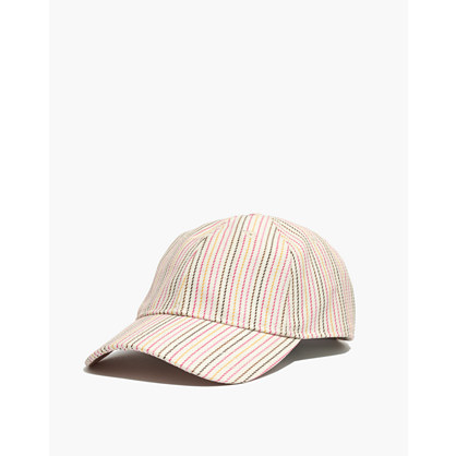 Baseball Cap in Pink Multistripe