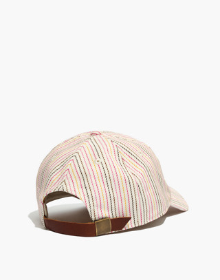 Baseball Cap in Pink Multistripe in pink multi stripe image 2
