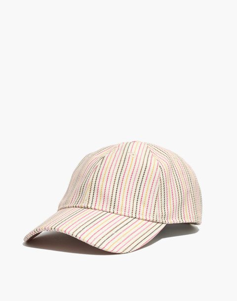 Baseball Cap in Pink Multistripe in pink multi stripe image 1