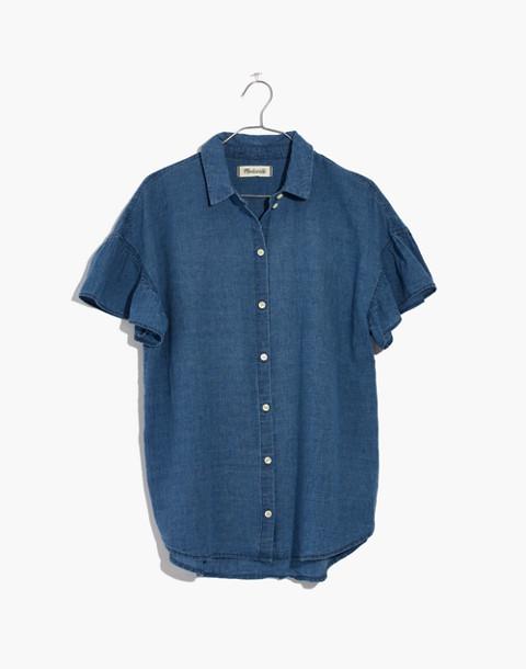 Central Ruffle-Sleeve Shirt in Indigo