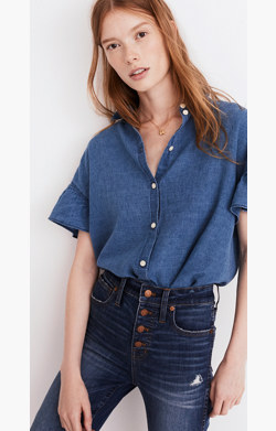 Central Ruffle-Sleeve Shirt in Indigo