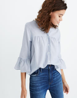 Veranda Bell-Sleeve Shirt in Stripe