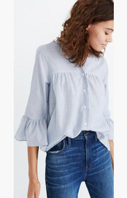 Veranda Bell-Sleeve Shirt in Stripe