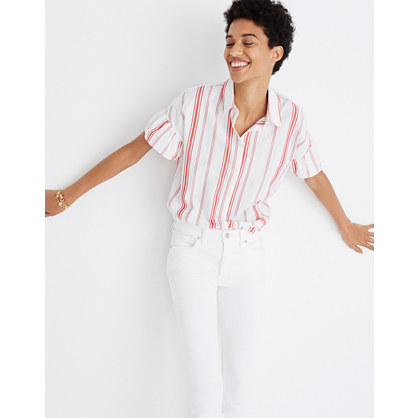 Central Ruffle-Sleeve Shirt in Carey Stripe
