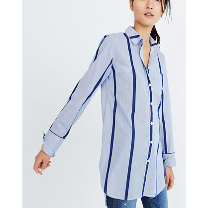 Striped Button-Down Tunic Shirt