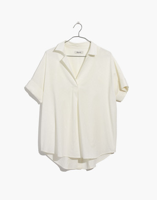 Courier Button-Back Shirt in Pure White
