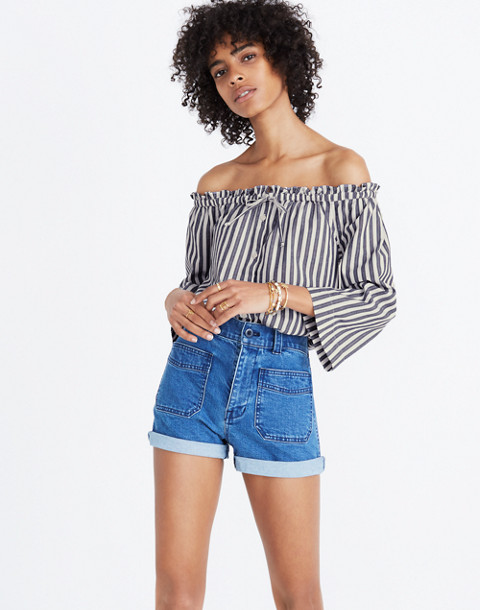 Shimmer Stripe Off-the-Shoulder Top in amelia stripe image 3