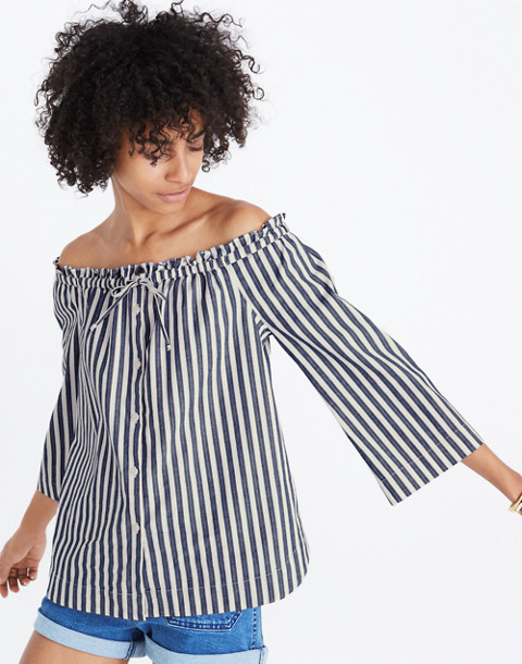 Shimmer Stripe Off-the-Shoulder Top in amelia stripe image 1