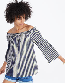 Shimmer Stripe Off-the-Shoulder Top