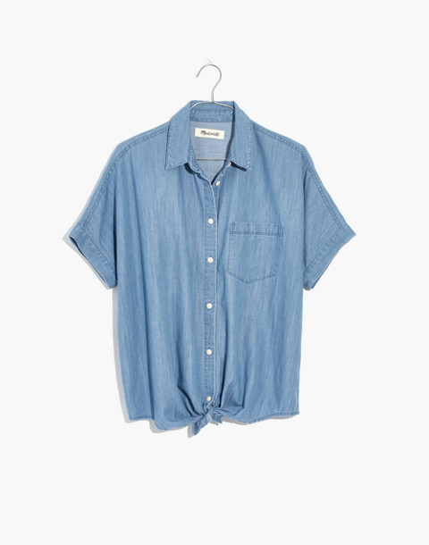 Denim Short-Sleeve Tie-Front Shirt in hillford wash image 4