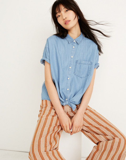 Denim Short-Sleeve Tie-Front Shirt in hillford wash image 1
