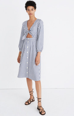 Shimmer Stripe Cutout Midi Dress