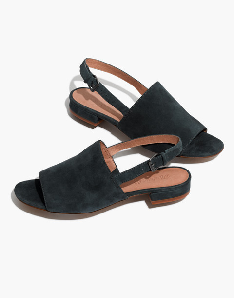 The Noelle Slingback Sandal in Suede in midnight spruce image 1