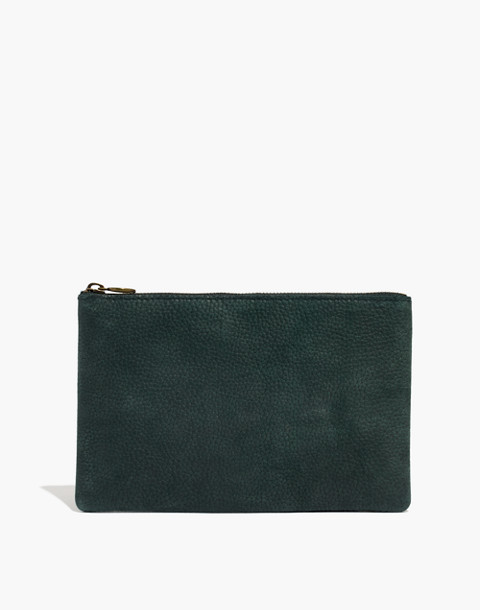 The Leather Pouch Clutch in Nubuck in smokey spruce image 1
