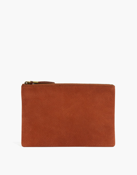 The Leather Pouch Clutch in Nubuck in spiced cider image 1