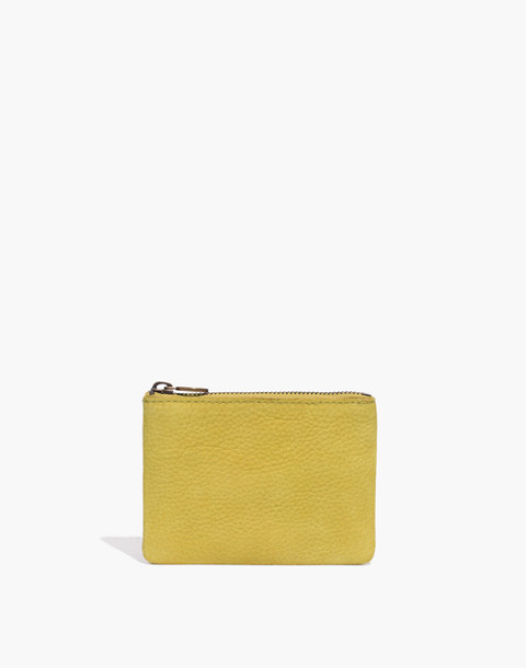 The Leather Pouch Wallet in Nubuck in vintage chartreuse image 1