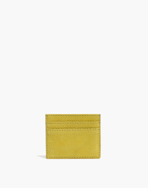 The Leather Card Case in Nubuck in vintage chartreuse image 1