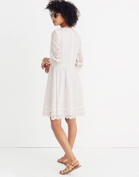 Eyelet Lattice Dress in white wash image 3