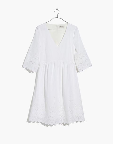 Eyelet Lattice Dress in white wash image 4