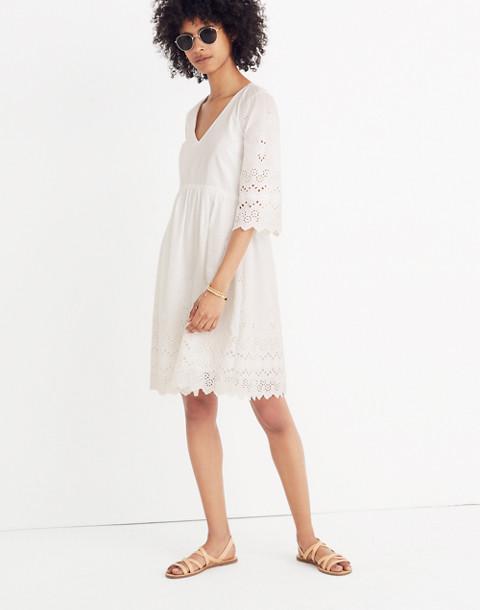 Eyelet Lattice Dress in white wash image 1