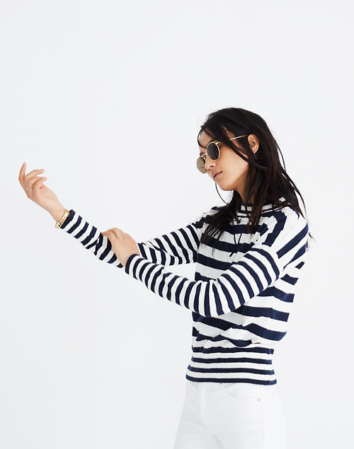 Relaxed Mockneck Sweater in Stripe