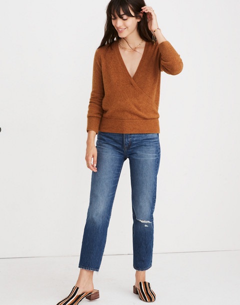 Wrap-Front Pullover Sweater in Coziest Yarn in hthr harvest image 2