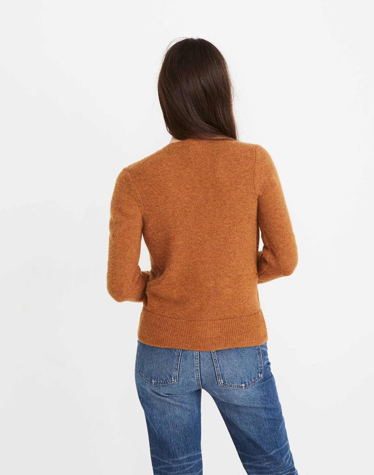 Wrap-Front Pullover Sweater in Coziest Yarn in hthr harvest image 3