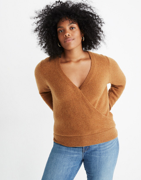 Wrap-Front Pullover Sweater in Coziest Yarn in hthr harvest image 1