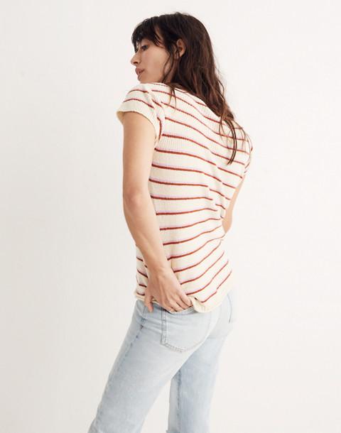 Marin Sweater Tee in Stripe in eggshell image 3