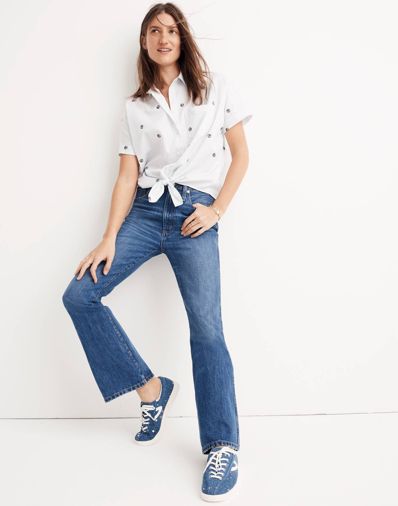 Tall Rigid Flare Jeans in delaford wash image 1