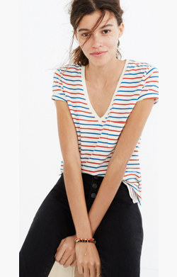 Whisper Cotton V-Neck Pocket Tee in Brion Stripe