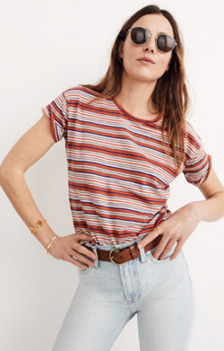 Whisper Cotton Crewneck Tee in Bonnie Stripe