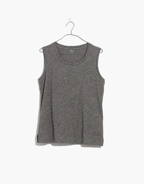 Whisper Cotton Crewneck Muscle Tank in hthr mercury image 4