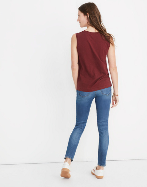 Whisper Cotton Crewneck Muscle Tank in cabernet image 3