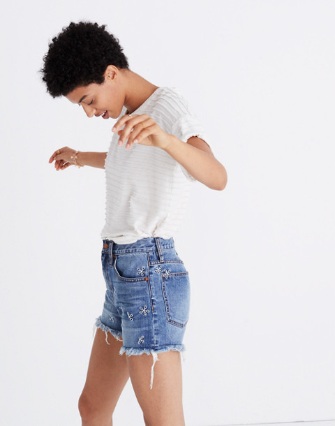 The Perfect Jean Short: Daisy Embroidered Edition in aberdeen wash image 2
